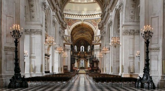 St. Paul's Cathedral in London boasts opulent and regal interior finishings.