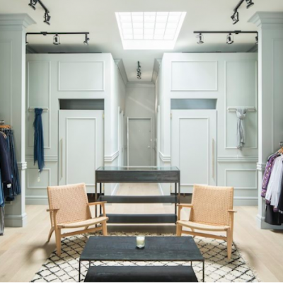 Sophie Burke transformed a lavishing boutique in Vancouver using Metrie's Fashion Forward interior finishings.