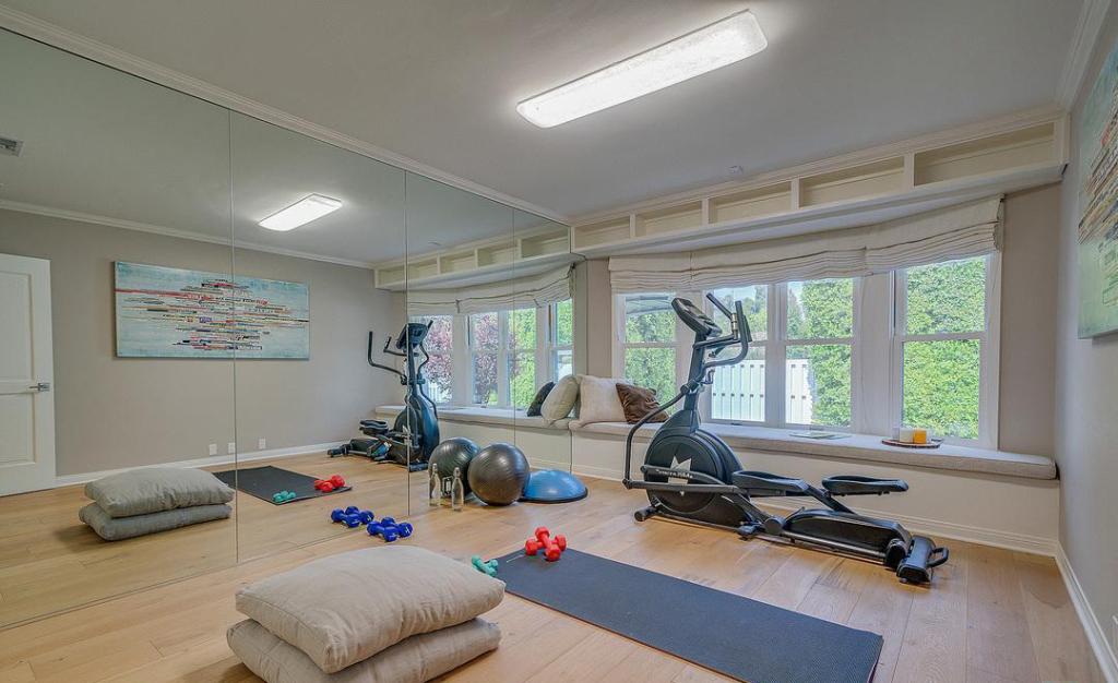Selena Gomez's home gym showcases interior finishings.