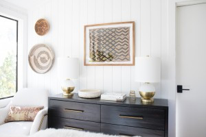 Brittany Makes, of The Vintage Rug Shop, embraces Metrie's shiplap in her charming bedroom.