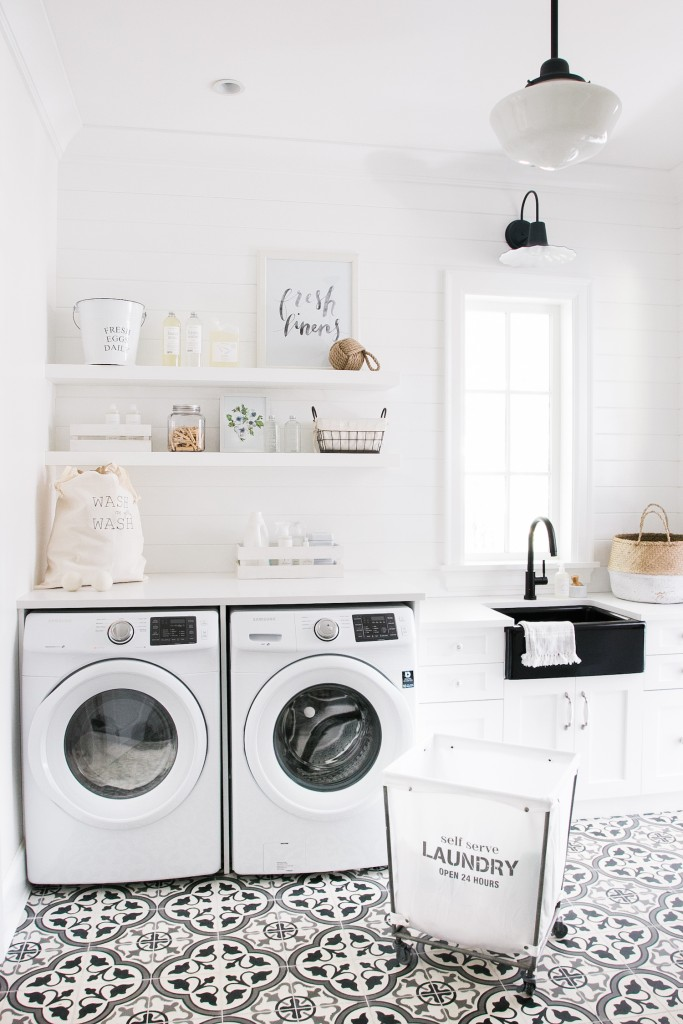 Influencer Monika Hibbs' laundry room embraces Metrie's shiplap.