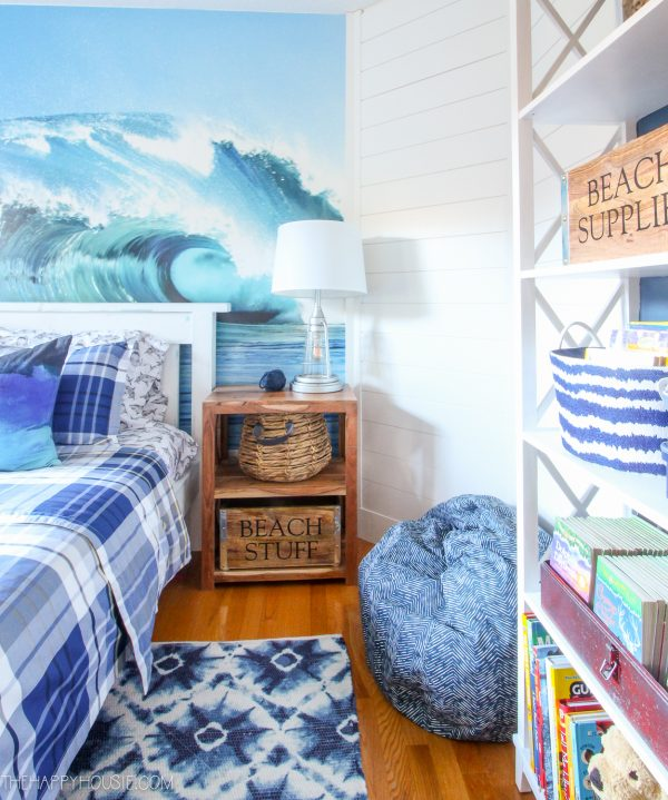 Krista, of The Happy Housie, transforms her son's bedroom with Metrie's shiplap and beach-themed decor.
