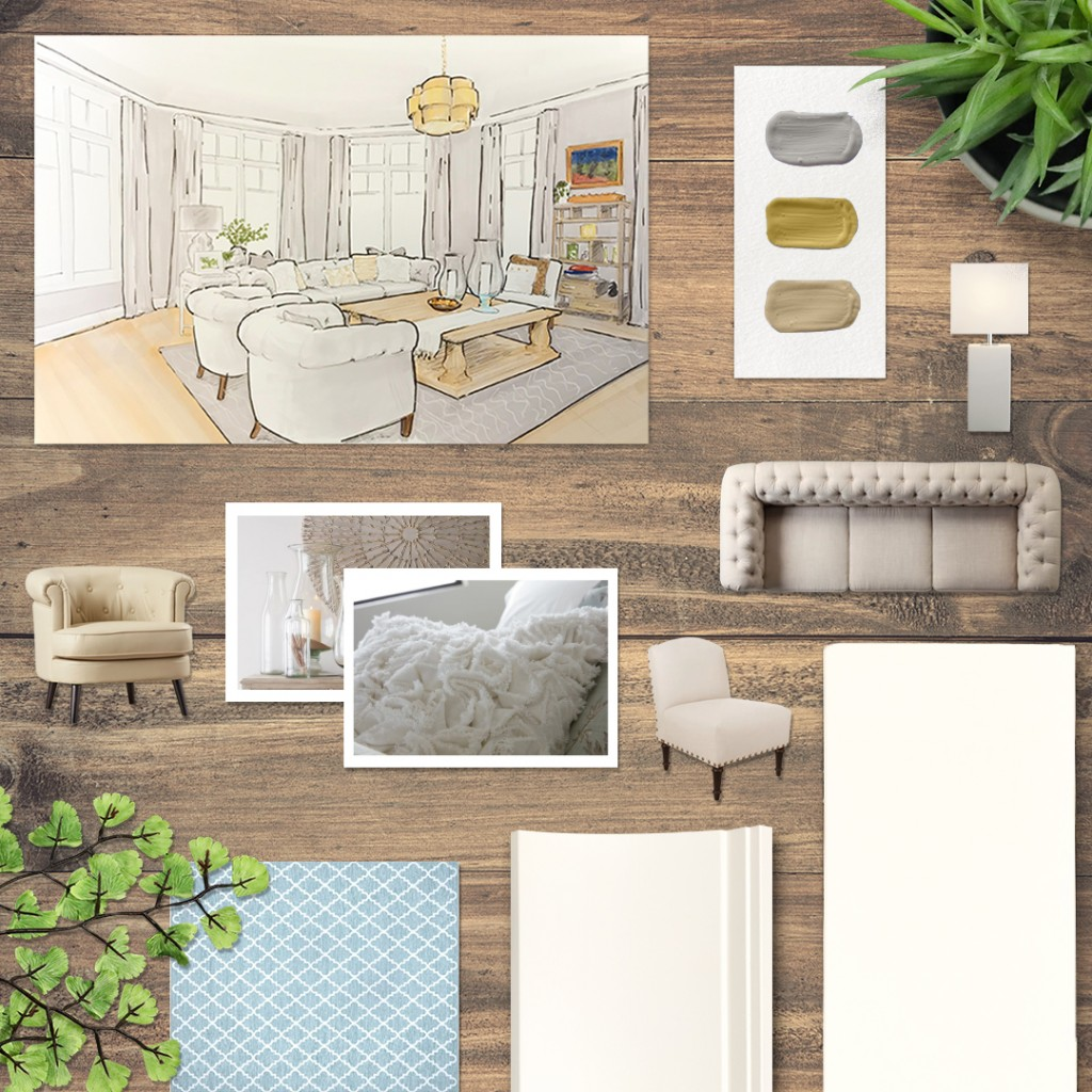 Zarrella Developments' living room is boasting in trim and inspiring this month's moodboard