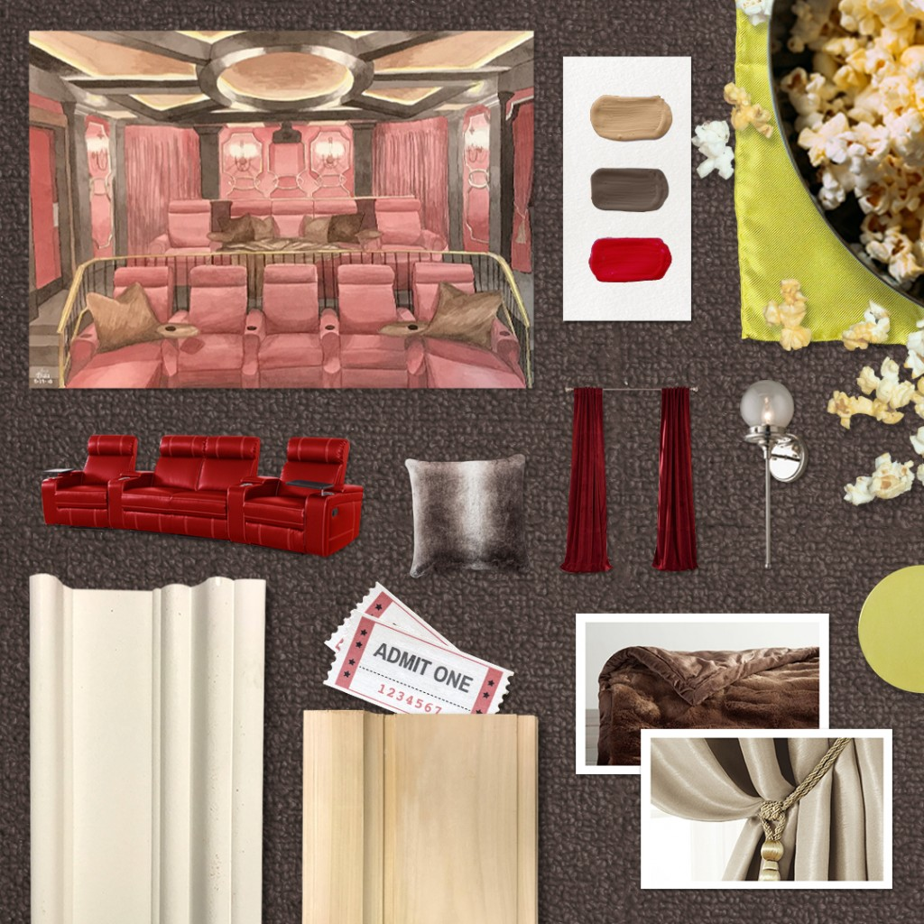 This month's moodboard is inspired by Decora Homes's home theater design.