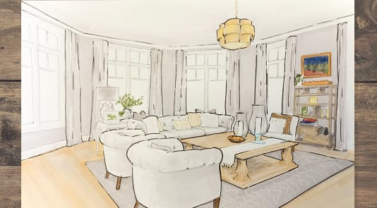 Metrie's monthly moodbaord is inspired by this open-concept living room, designed by Zarrella Development