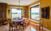 Alpha Developments created a colorful space, filled with Metrie trim