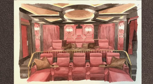Metrie's monthly moodboard, inspired by Decora Homes' majestic home theatre