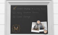 Metrie's casing is used for this DIY chalkboard