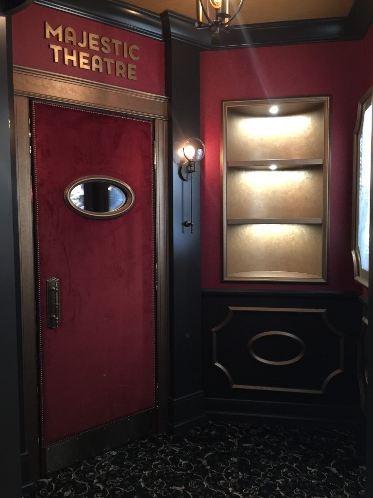 Metrie's casing painted in bronze, inside Decora Home's majestic home theater