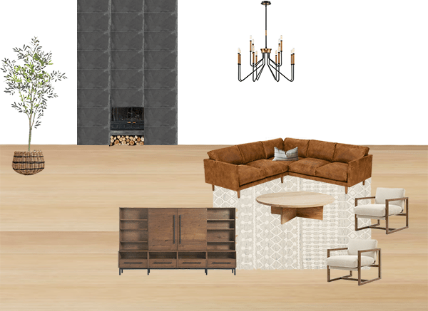 Brepurposed's living room rendering for her One Room Challenge space