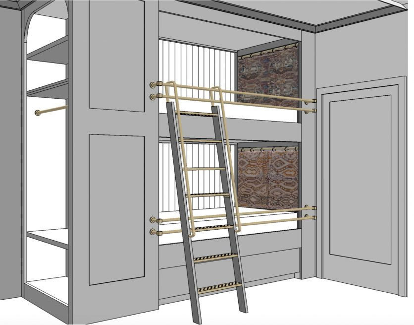 Dee Murphy's design sketch for the adult bunk beds