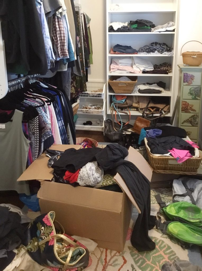 Linda Holdt plans to transform this cluttered closet to a functional dream