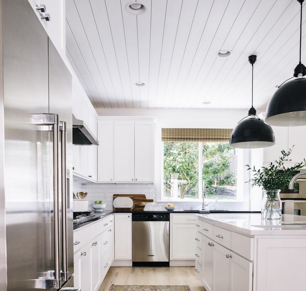 Krissy Peterson shares her marvelous kitchen makeover featuring a shiplap ceiling treatment