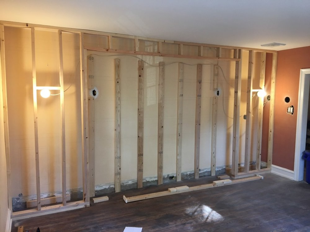 Michelle Gage's built-ins are coming along nicely in her dining room