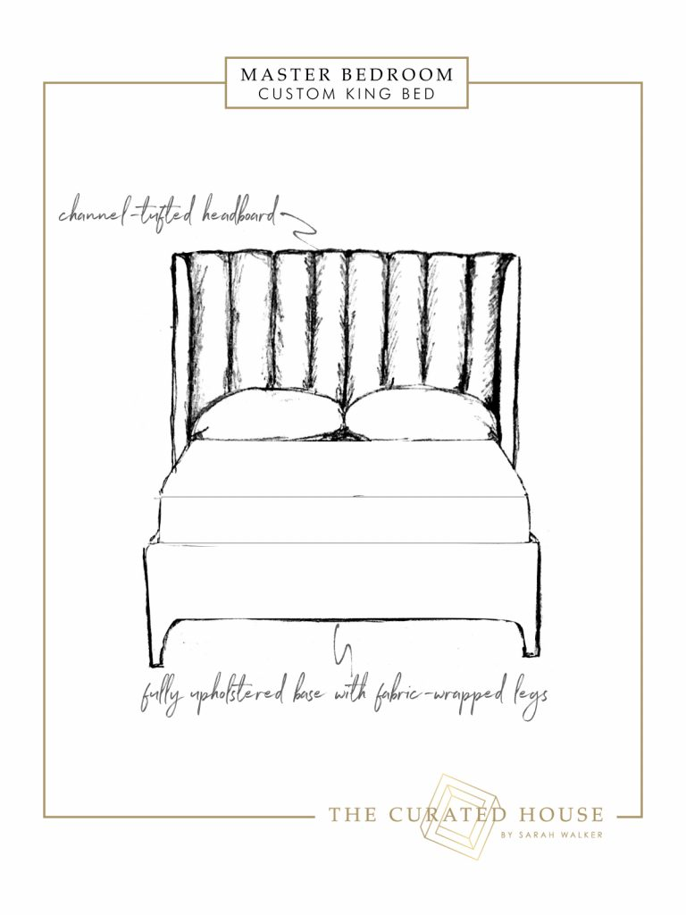 Sarah Walker, of The Curated House, shares a sketch of a custom channel-tufted king size bed for her Fall 2018 ORC.