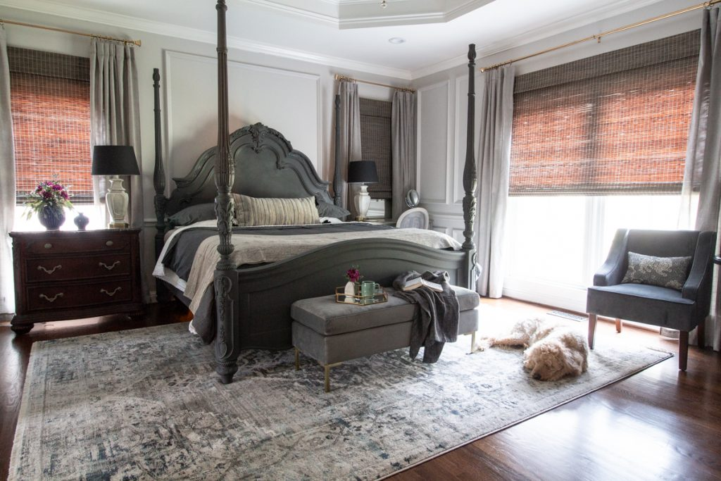 Leslie Davis embraces Metrie's French Curves interior finishings to create a gray wonderland in her master bedroom.