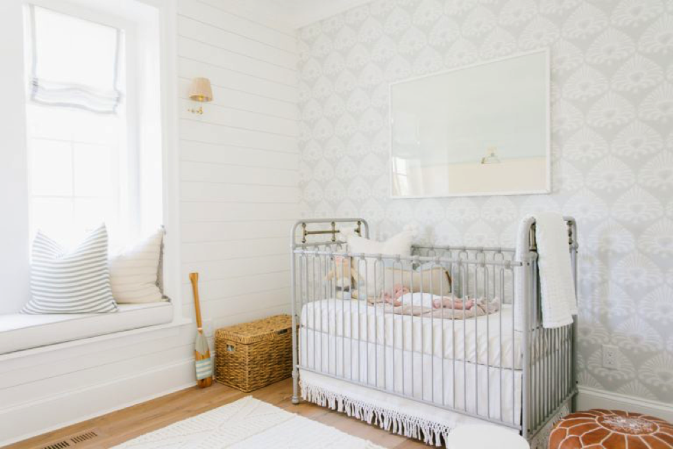 Monika Hibbs' nursery is embellished with Metrie Complete shiplap and a soft palette
