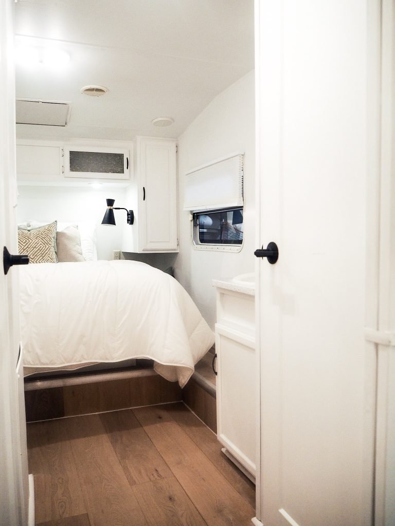 Jo Alcorn used Metrie's interior finishings in this tiny mobile home reveal