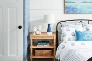 Sarah Gunn embraces Masonite's Winslow door in her son's Coastal-inspired bedroom.