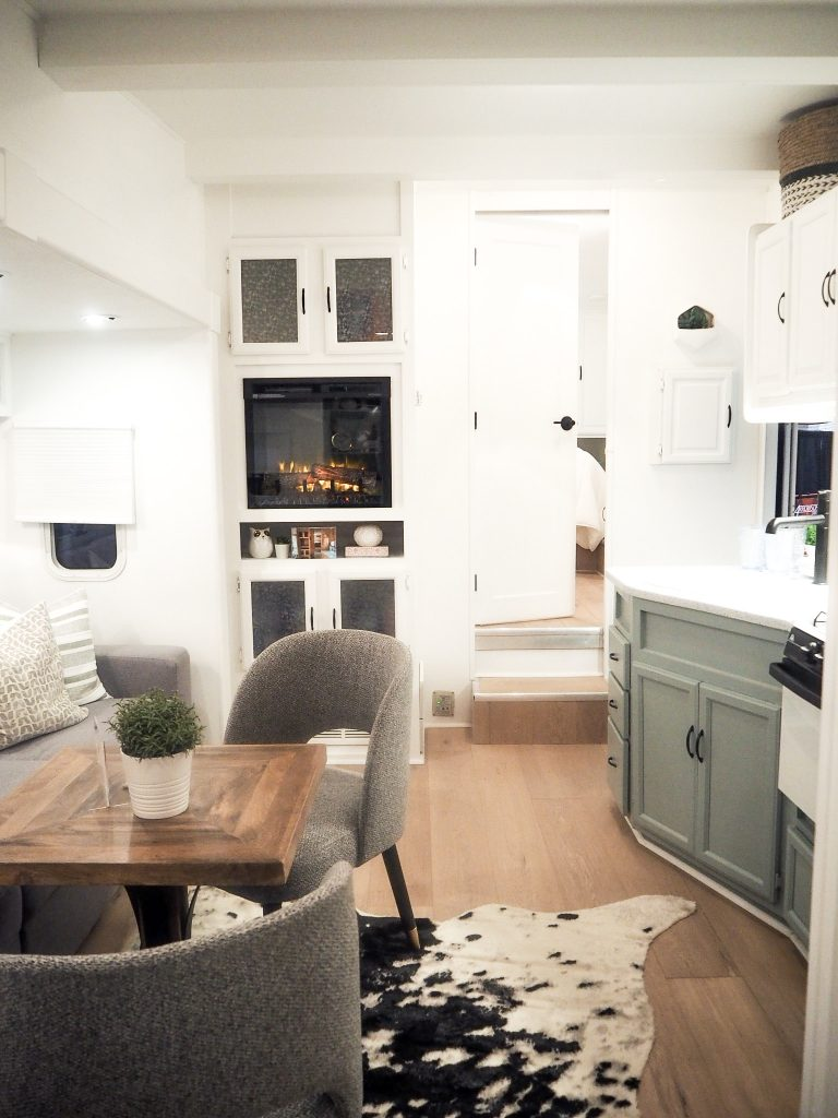 Jo Alcorn used Metrie interior finishings for this tiny mobile home makeover