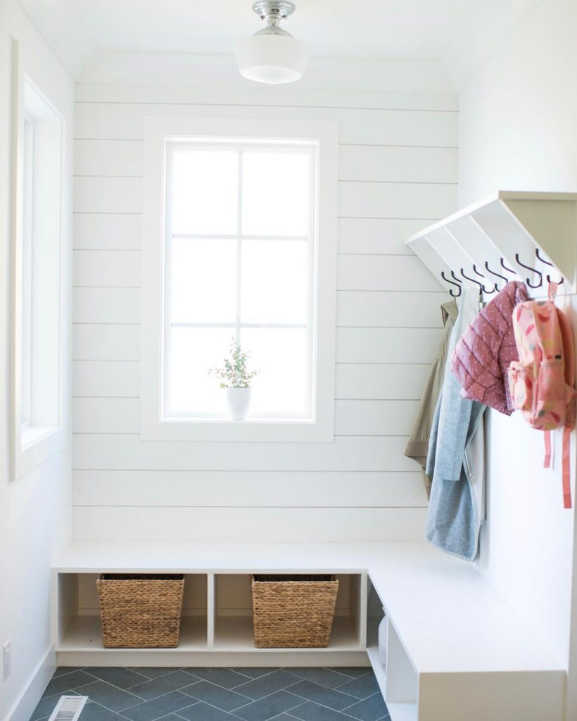 Claire Krista uses Metrie Complete Shiplap to organize her mudroom
