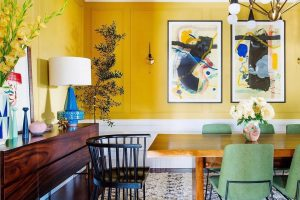 Dabito encapsulates Summer in this bright yellow dining room designed for the One Room Challenge