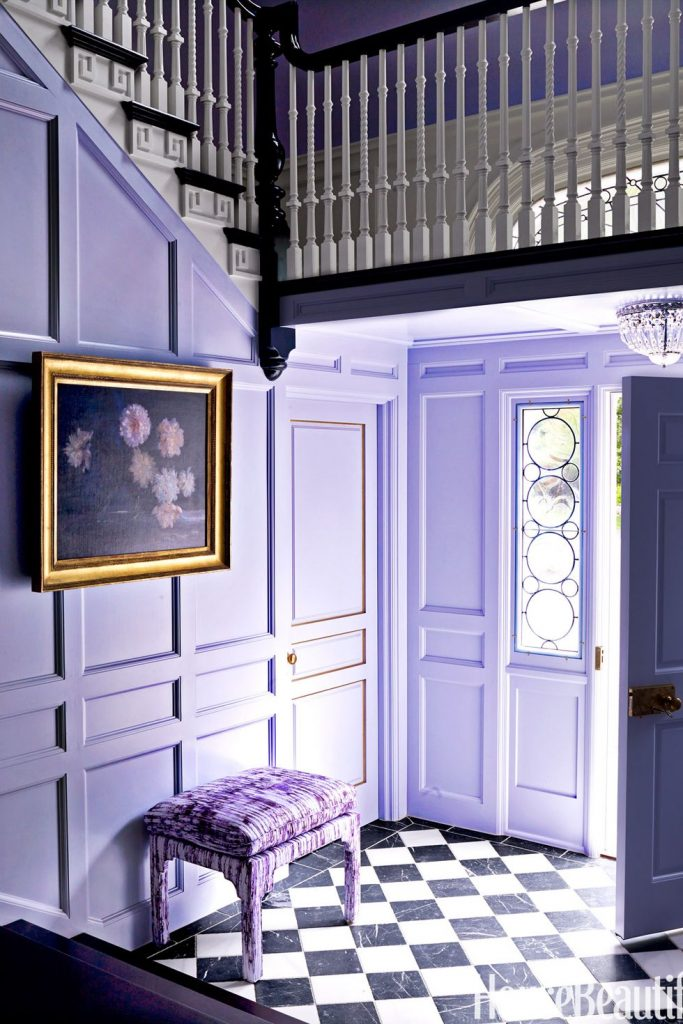 Mary's entrance-way is like stepping into a summer garden of soft lilac trim!