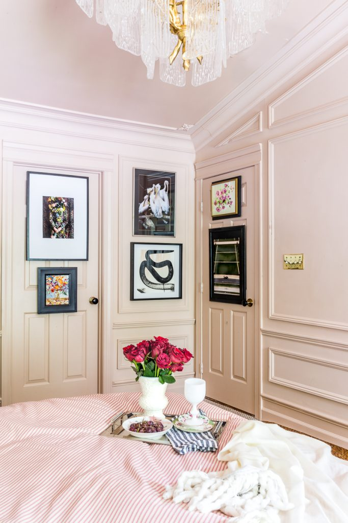 This fabulous wall treatment is made of Metrie's moulding