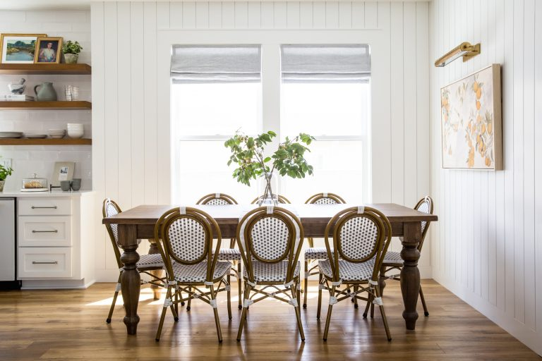 House of Jade created a stunning shiplap wall in her dining room