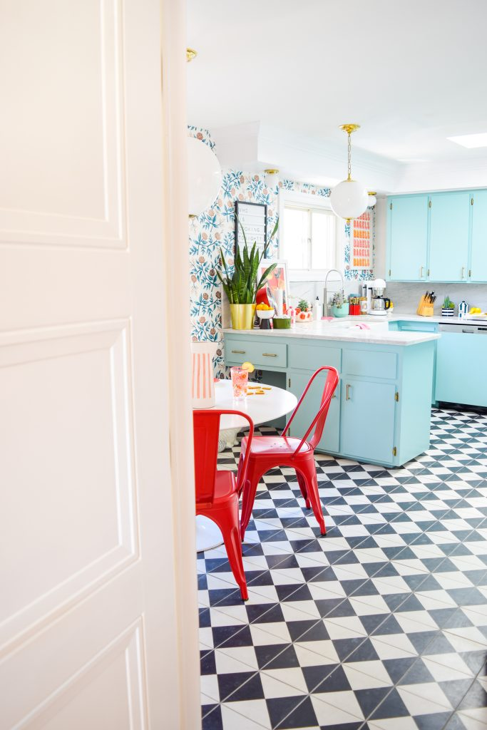 Livingston door makes a statement inside this retro kitchen