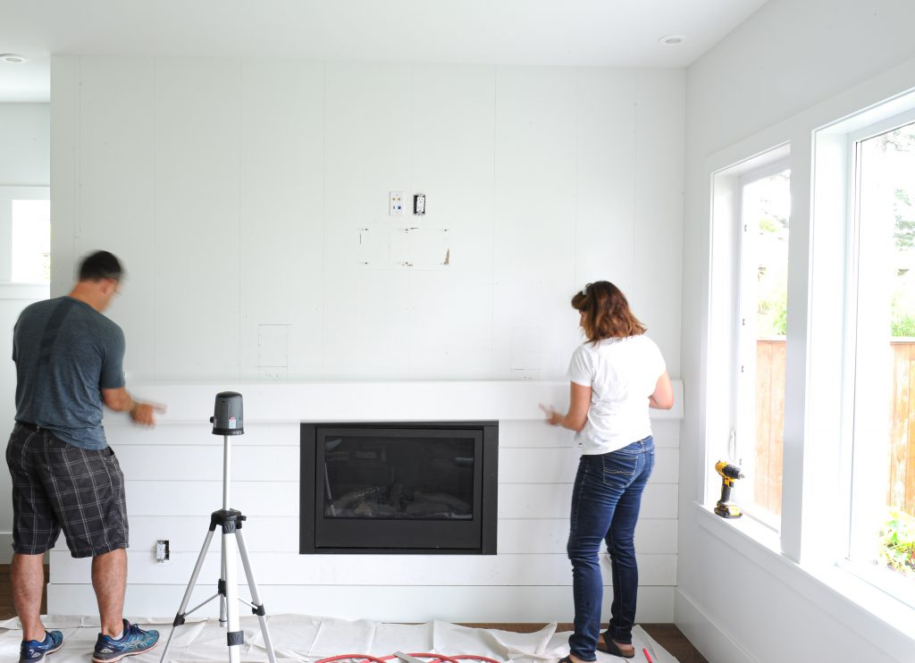 Use a laser level for the best accuracy when installing shiplap