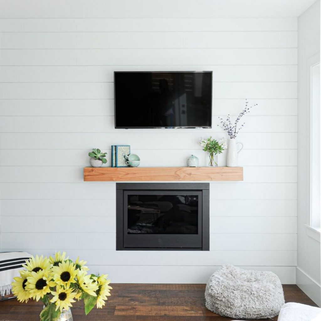 Fireplace finished with Metrie's Modern Farmhouse shiplap