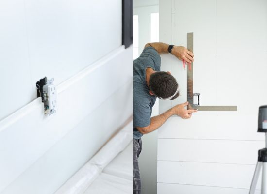 Installing Modern Farmhouse shiplap around sockets and light switches
