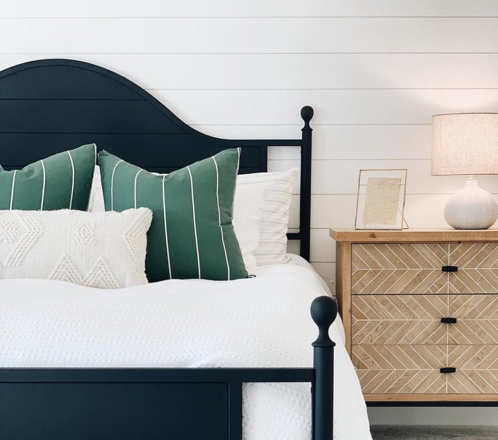 A beautiful use of Metrie's shiplap inside this bedroom makeover