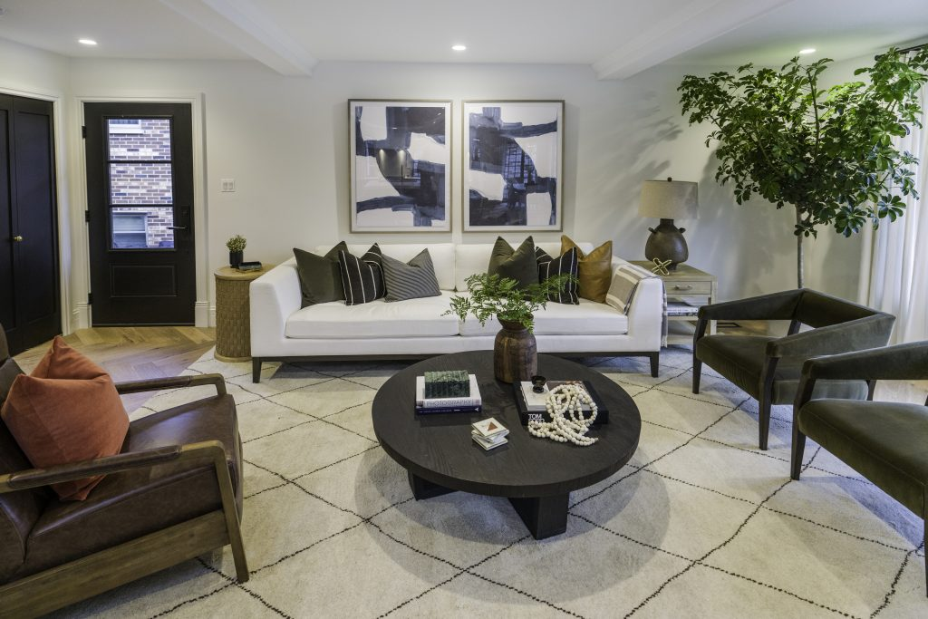 Redesigned living room for Melissa McCarthy's aunt and uncle, on Celebrity IOU
