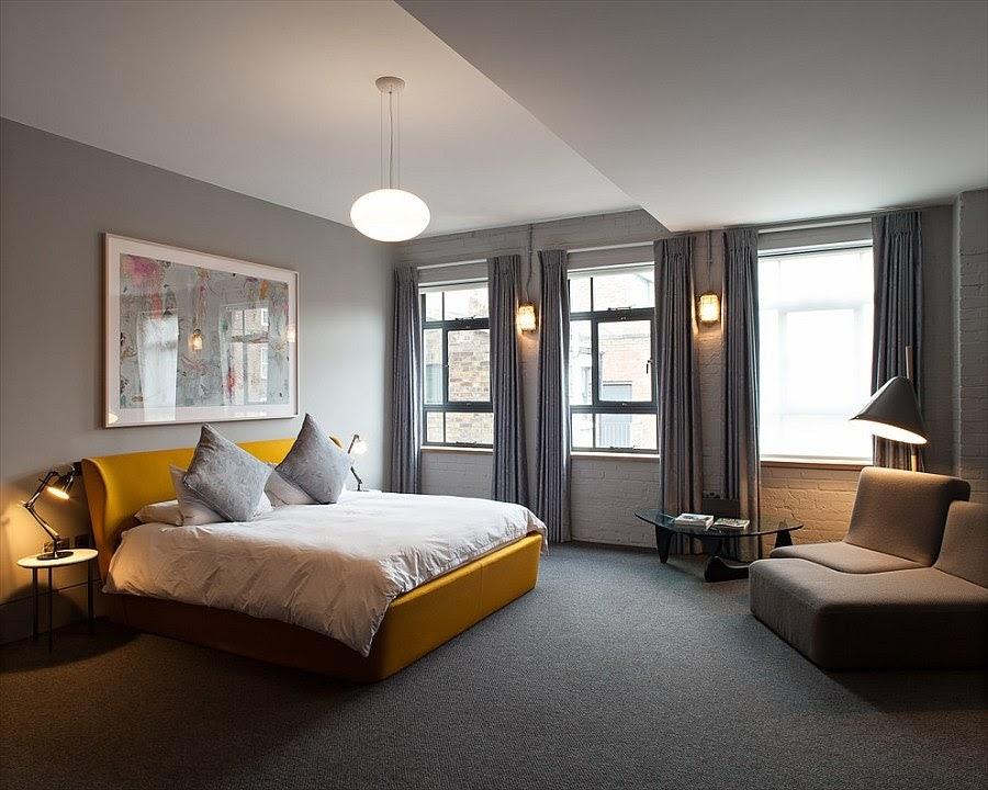 Gray Room with Yellow Accents