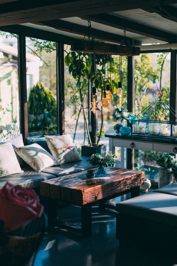 Room with Large Windows and Plants