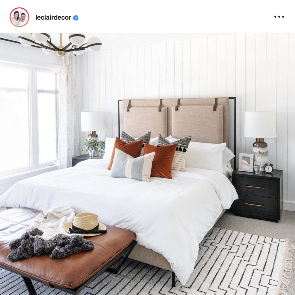 Bright, Airy Bedroom with White Shiplap Walls