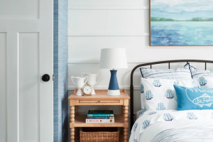Blue and White Cottage Bedroom