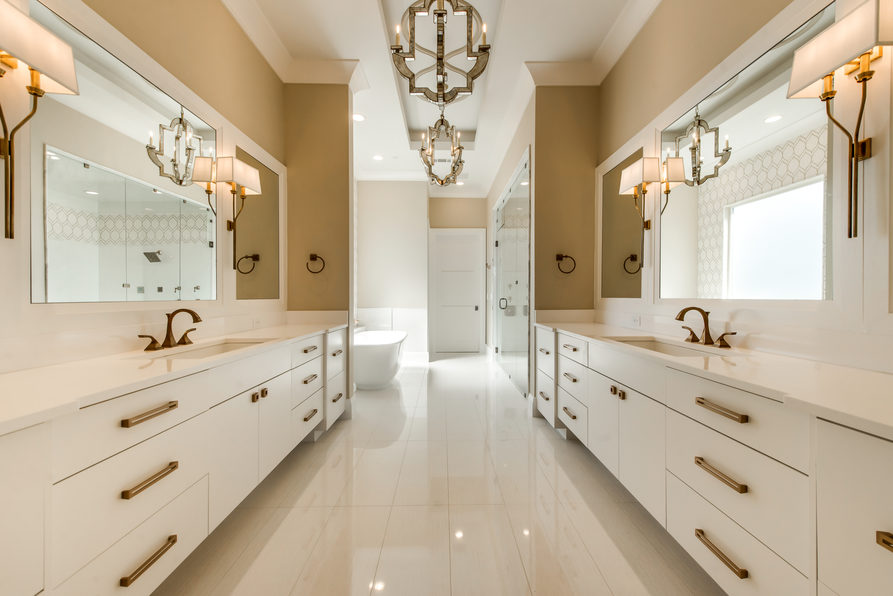 Large Bathroom with Metrie Trim and Moulding