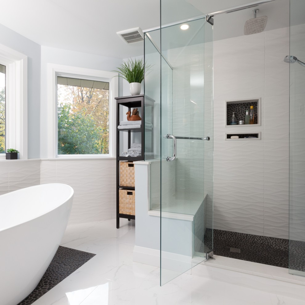 Bathroom with White Trimmed Windows